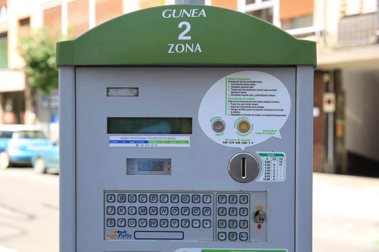 Betaald parkeren in het centrum van Bilbao